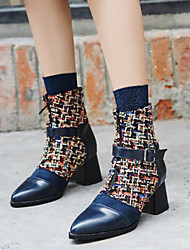 cheap -Women's Boots Chunky Heel Pointed Toe Buckle PU Booties / Ankle Boots Bootie Spring &  Fall Black / Blue / Color Block