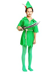 cheap -Cosplay Costume Boys' Child's Halloween Halloween Carnival Children's Day Festival / Holiday Polyster Outfits Dark Green Solid Colored Halloween