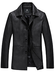 cheap -Men's Daily Spring &  Fall / Winter Regular Leather Jacket, Solid Colored Turndown Long Sleeve PU Black / Brown