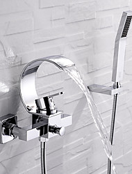 cheap -Bathtub Faucet - Contemporary Chrome Wall Installation Ceramic Valve Bath Shower Mixer Taps / Single Handle Three Holes