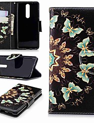 cheap -Case For Nokia Nokia 5 / Nokia 3 / Nokia 2.1 Wallet / Card Holder / with Stand Full Body Cases Butterfly Hard PU Leather