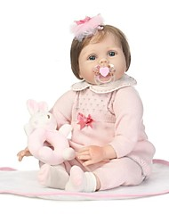cheap -NPKCOLLECTION NPK DOLL Reborn Doll Girl Doll Baby Girl 24 inch lifelike Gift Child Safe Parent-Child Interaction Hand Rooted Mohair Hand Applied Eyelashes Kid's Girls' Toy Gift / Natural Skin Tone