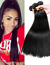 cheap -3 Bundles Mongolian Hair Straight Human Hair Headpiece Extension Bundle Hair 8-28 inch Natural Black Human Hair Weaves Silky Smooth Extention Human Hair Extensions / 8A