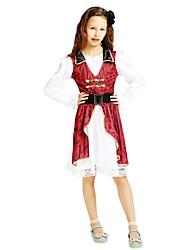 cheap -Pirate Costume Flower Girl Dress Kids Girls' A-Line Slip Halloween Halloween Carnival Children's Day Festival / Holiday Polyster Rose Carnival Costumes Solid Colored Halloween / Headwear / Waist Belt