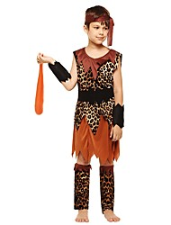 cheap -Primitive Costume Boys' Kids Halloween Halloween Carnival Children's Day Festival / Holiday Polyster Outfits Brown Solid Colored Halloween