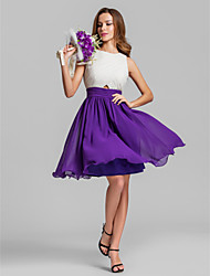cheap -A-Line Jewel Neck Above Knee Chiffon Bridesmaid Dress with Ruching