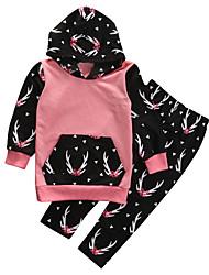 cheap -Baby Girls' Basic Daily Print / Color Block Long Sleeve Regular Cotton Clothing Set Blushing Pink / Toddler