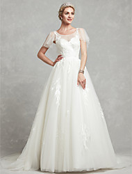 cheap -A-Line Wedding Dresses Scoop Neck Chapel Train Lace Tulle Short Sleeve with Lace Beading 2021