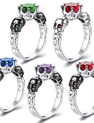 cheap -Women's Ring Sapphire 1pc Purple Red Green Copper Platinum Plated Imitation Diamond Six Prongs Ladies Punk Hip-Hop Masquerade Club Jewelry Stylish Sculpture Simulated Skull Cute Cool