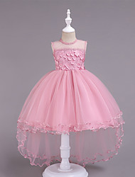 cheap -Kids Girls' Basic Sweet School Holiday Solid Colored Floral Lace Mesh Sleeveless Knee-length Asymmetrical Dress Blushing Pink / Cotton