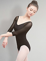 cheap -Ballet Leotards Women's Training / Performance Cotton Split Joint 3/4 Length Sleeve Natural Leotard / Onesie