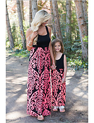 cheap -Kids Toddler Mommy and Me Basic Sweet Daily Going out Floral Color Block Patchwork Sleeveless Long Maxi Overall & Jumpsuit Blue