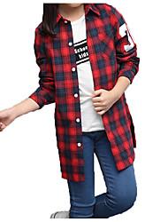 cheap -Kids Girls' Basic Street chic Daily Sports Plaid Print Long Sleeve Regular Cotton Shirt Red