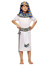 cheap -Pharaoh Costume Boys' Child's Halloween Halloween Carnival Children's Day Festival / Holiday Polyster Outfits White Solid Colored Halloween