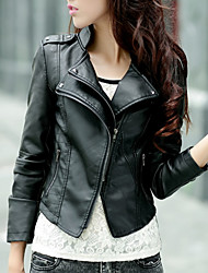 cheap -Women's Daily Short Leather Jacket, Solid Colored Stand Long Sleeve Polyester Black