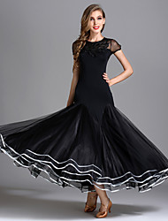 cheap -Ballroom Dance Dress Draping Women's Performance Short Sleeve High Senior Emulation Silk Tulle Ice Silk