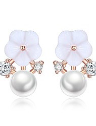 cheap -Women's Cubic Zirconia Stud Earrings Classic Stylish Flower Ladies Basic Fashion Imitation Pearl Earrings Jewelry Silver For Daily Ceremony 1 Pair