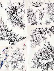 cheap -decal-style-temporary-tattoos-body-arm-shoulder-temporary-tattoos-5-pcs-flower-series-romantic-series-smooth-sticker-safety-body-arts-party-evening