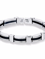 cheap -Men's Bracelet Stylish Two tone Peace Courage Simple Casual / Sporty Fashion Titanium Steel Bracelet Jewelry Silver For Gift Daily