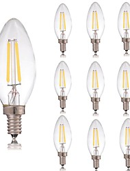 cheap -10pcs 2 W LED Filament Bulbs 180 lm E14 C35 2 LED Beads COB Decorative Warm White Cold White 220-240 V / RoHS