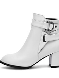 cheap -Women's Boots Chunky Heel PU(Polyurethane) Comfort / Fashion Boots Spring / Fall White / Black / Beige