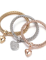 cheap -Women's Charm Bracelet Bracelet Bangles Layered Stack Stacking Stackable Heart Love Ladies Luxury European Simple Style Fashion Rhinestone Bracelet Jewelry Rainbow For Gift Daily Valentine