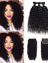 cheap -3 Bundles with Closure Malaysian Hair Deep Wave Human Hair Unprocessed Human Hair Natural Color Hair Weaves / Hair Bulk Bundle Hair One Pack Solution 8-20 inch Natural Color Human Hair Weaves Soft