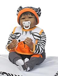 Недорогие -NPKCOLLECTION NPK DOLL Куклы реборн Мальчики Африканская кукла 24 дюймовый Новорожденный как живой Подарок Безопасно для детей Взаимодействие родителей и детей Ручной корневой мохер Детские