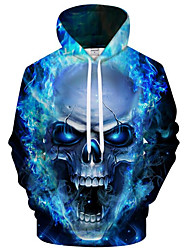 cheap -Men's Plus Size Active / Exaggerated Long Sleeve Loose Hoodie - 3D / Cartoon Print Hooded Blue S / Fall / Winter