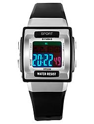 Недорогие -SYNOKE Муж. Жен. Спортивные часы электронные часы Цифровой Стеганная ПУ кожа Черный / Белый / Розовый 50 m Защита от влаги Календарь Секундомер Цифровой Мода - Темно-синий Зеленый Розовый
