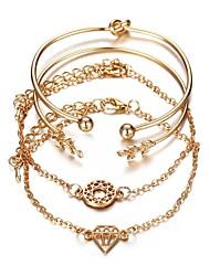 cheap -4pcs Women's Bracelet Classic Retro Leaf Ladies Classic Fashion Alloy Bracelet Jewelry Gold For Office & Career Festival