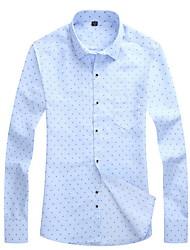 cheap -Men's Daily Work Business Shirt - Polka Dot Classic Collar Navy Blue / Long Sleeve