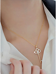 cheap -Women's Crystal Pendant Necklace Long Keys Ladies Simple Fashion Alloy Gold 50.5 cm Necklace Jewelry 1pc For Party / Evening School