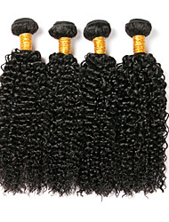 cheap -4 Bundles Brazilian Hair Kinky Curly Human Hair Headpiece Extension Bundle Hair 8-28 inch Black Natural Color Human Hair Weaves Soft Silky Classic Human Hair Extensions / 8A