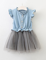 cheap -Kids Toddler Girls' Sweet Cute Party Holiday Solid Colored Mesh Short Sleeve Knee-length Dress Light Blue