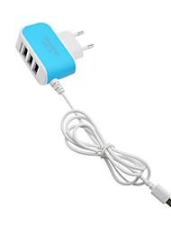 Недорогие -Портативное зарядное устройство Зарядное устройство USB Евро стандарт с кабелем / Несколько разъемов 3 USB порта 3.1 A 100~240 V для