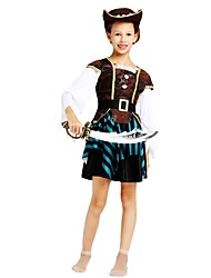 cheap -Pirate Costume Flower Girl Dress Teen Girls' A-Line Slip Halloween Halloween Carnival Children's Day Festival / Holiday Polyster Coffee Carnival Costumes Striped Solid Colored Halloween / Top / Skirt