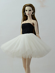cheap -Doll Dress Dresses For Barbiedoll Black & White Tulle Lace Cotton Blend Dress For Girl's Doll Toy / Kids