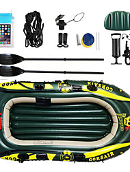 cheap -2 Persons Inflatable Boat Set with Hand Air Pump Air Pad French Oars PVC Portable Folding Fishing Boating Water Sports 182*120*21 cm