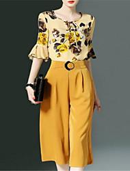 Недорогие -Жен. Классический Блуза / Набор Брюки - С принтом / Широкие, Однотонный / Flare рукавом / Цветочный принт