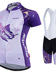 cheap -Malciklo Women's Cycling Jersey with Shorts White Butterfly Plus Size Bike Clothing Suit Sports Polyester Coolmax® Butterfly Mountain Bike MTB Road Bike Cycling Clothing Apparel / Quick Dry / British