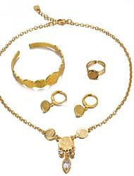 cheap -Women's Cuff Bracelet Hoop Earrings Pendant Necklace Coin Ladies Luxury Bohemian Sweet Earrings Jewelry Gold For Birthday Gift / Ring