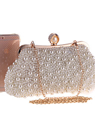 cheap -Women's Pearls / Chain Polyester Evening Bag Solid Color Beige