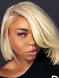 cheap -Remy Human Hair Lace Front Wig Bob Gaga style Brazilian Hair Straight Blonde Wig 130% Density with Baby Hair Silky Women Natural Hairline Bleached Knots Women's Short Human Hair Lace Wig Guanyuwigs