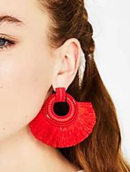 cheap -Women's Drop Earrings Raffia Earrings Tassel Ladies Tassel European Fashion Earrings Jewelry Red / Pink / Light Green For Daily Office & Career 1 Pair