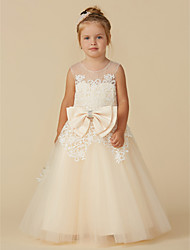 cheap -A-Line Floor Length Flower Girl Dress - Lace / Tulle Sleeveless Jewel Neck with Beading / Bow(s)