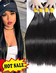 cheap -4 Bundles Indian Hair Straight Human Hair Natural Color Hair Weaves / Hair Bulk Extension 8-28 inch Natural Human Hair Weaves New Arrival Human Hair Extensions / 8A