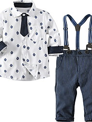 cheap -Baby Boys' Basic Daily Print Print Long Sleeve Regular Cotton Clothing Set White / Toddler