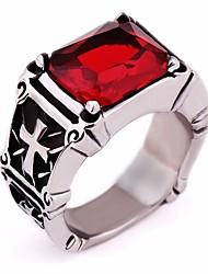 cheap -Ring Synthetic Ruby Vintage Style Black Red Titanium Steel Cross Vintage European Gothic 1pc 7 8 9 10 11 / Men's / Black Gemstone
