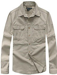 cheap -Men's Hiking Shirt / Button Down Shirts Long Sleeve Outdoor Breathable Quick Dry Wear Resistance Multi Pocket Roll up Sleeves Shirt Top Autumn / Fall Spring Cotton Camping / Hiking Outdoor Exercise